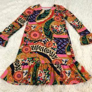 Lands' End Retro Floral Knit Dress Girls Size 7